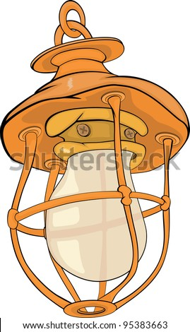 Old yellow lamp. Cartoon - stock photo