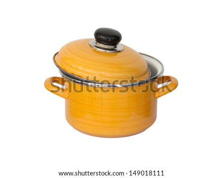 Old yellow metal cooking pot isolated on white - stock photo