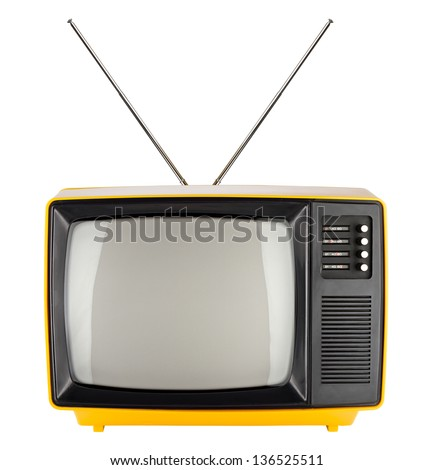 old yellow retro TV - stock photo