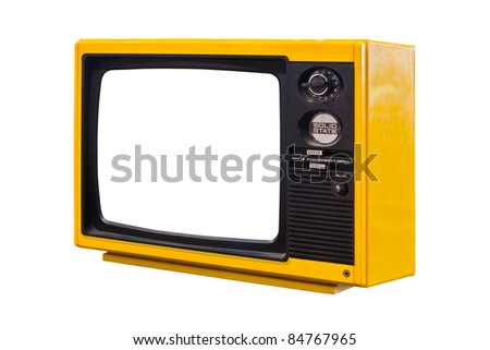 old yellow television isolated - stock photo