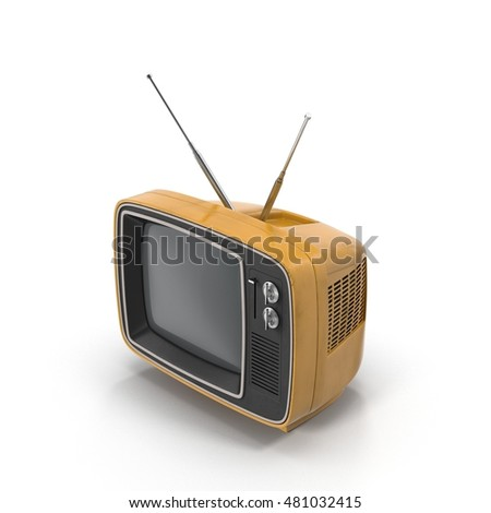 Old yellow TV on white 3D Illustration