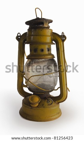 Old yellow vintage lamp isolated on white background.