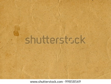 Old yellowed vintage paper horizontal background, scan texture - stock photo