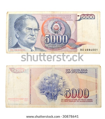 Old Yugoslavia 5000 dinar with Josip Broz Tito picture on it
