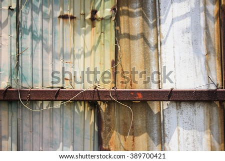 Old zinc - Old and Rusted decay metal sheet wall - stock photo