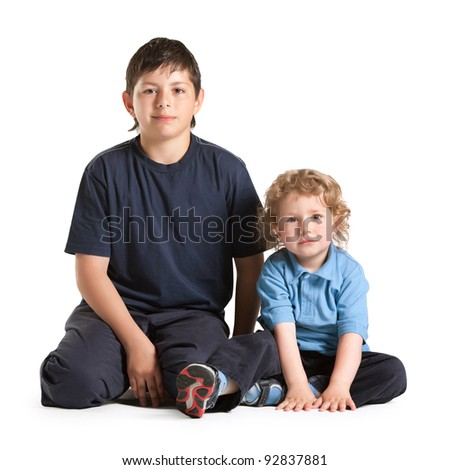 older and younger brother - stock photo