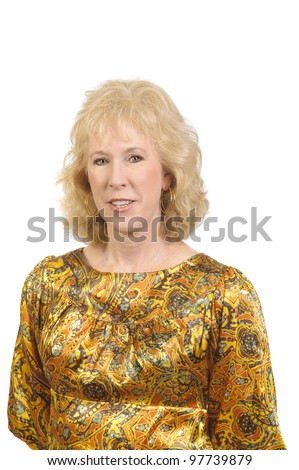 Older attractive blond-haired woman checking in Address book isolated over white - stock photo