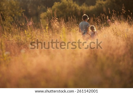 older brother and sister are in a summer field at sunset - stock photo