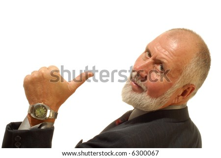 Older businessman giving thumbs up to the camera; isolated on white