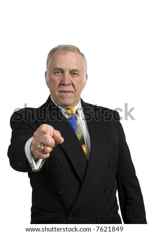 older businessman in a suit isolated on white