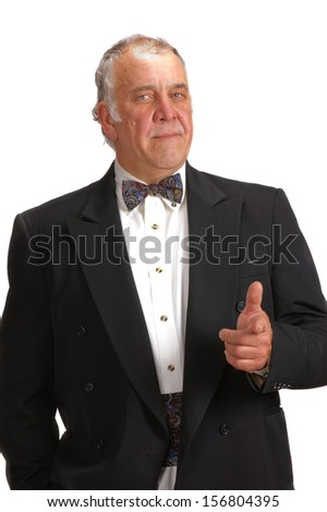 older businessman in a suit with a bow tie, isolated over white - stock photo