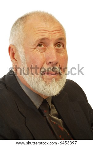 Older businessman looking worried and unsettled; isolated on white - stock photo