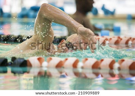older competitive adult swimming laps in pool - stock photo