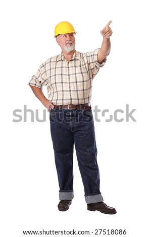 Older construction worker pointing ahead toward copy space - stock photo