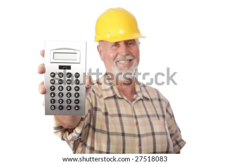 Older contractor showing a calculator with blank copy for an estimate