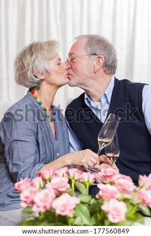 older couple celebrating valentines day or wedding anniversary - stock photo