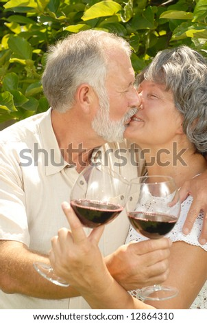 Older couple enjoying an active retirement outdoors with glasses of wine - stock photo