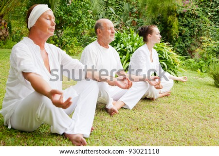 older couple learning from younger - stock photo