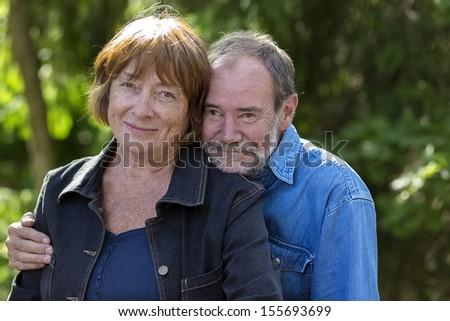 older couple outside - stock photo