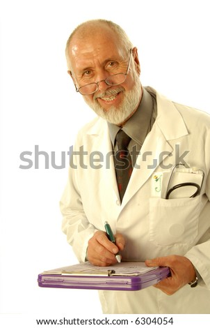 Older doctor with a clipboard writing out the diagnosis; isolated on white