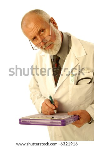 Older, experienced doctor looking concerned as he is writing up the diagnosis; isolated on white - stock photo