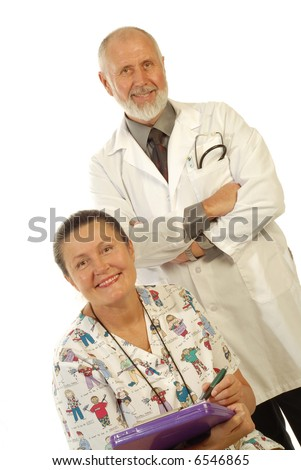 Older, experienced team of medical professionalsl isolated on white