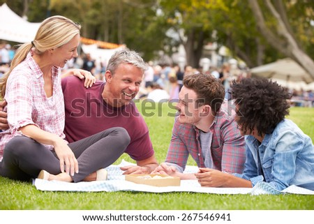 Older Family Relaxing At Outdoor Summer Event - stock photo