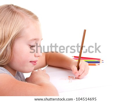 Older girl or teen drawing a bird with colored pencils - stock photo