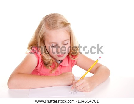 Older girl or teen sloving math problems - stock photo