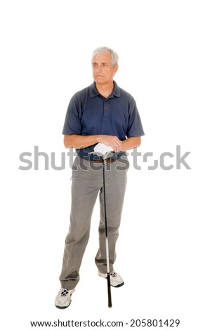 Older golfer waiting leaning on his club, isolated on white