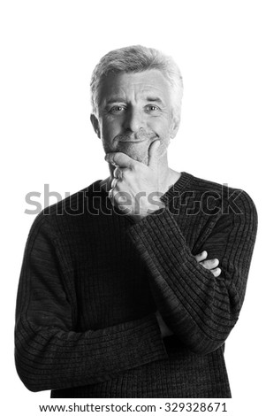 older gray-haired man hearer smiling  looking at the camera grey eyes - stock photo