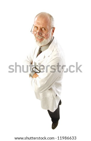Older, happy doctor or scientist in a labcoat; isolated on white - stock photo
