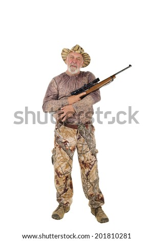 Older hunter holding rifle demonstrating how to correctly and safely carry a rifle. isolated on white - stock photo