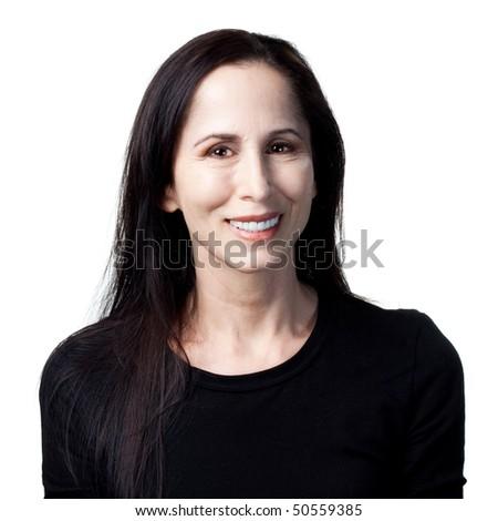 Older lady laughs out loud, happy, confident portrait - stock photo