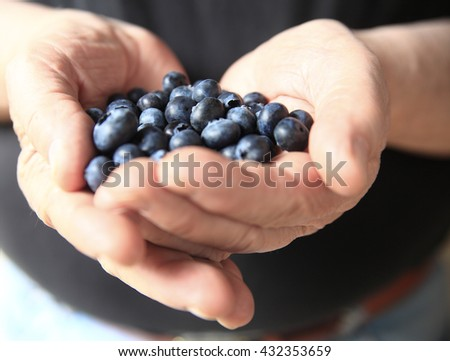Older man with fresh blueberries in his hands - stock photo