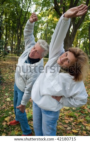 older people involved in gymnastics in the autumn park