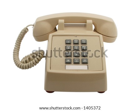 older 80's phone front view isolated white - stock photo