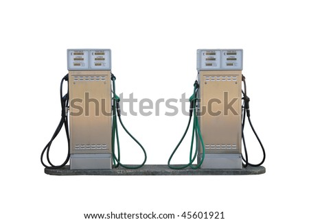Older style fuel pumps at a petrol garage / gas station, isolated on a pure white background - stock photo