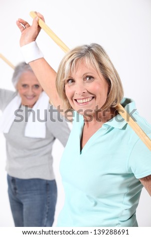 Older women in an exercise class - stock photo