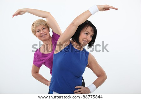 Older women working out - stock photo