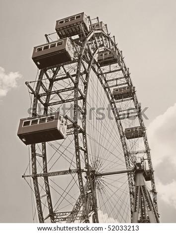 Oldest Ferris Wheel in Vienna. Sepia - stock photo