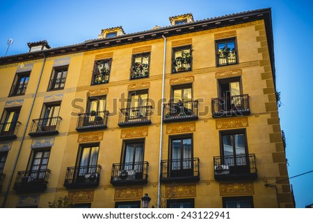 oldest street in the capital of Spain, the city of Madrid, its architecture and art - stock photo