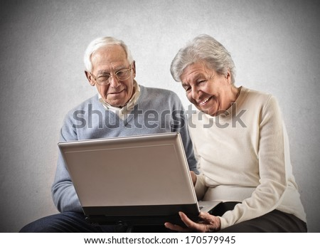 Oldies and Laptop - stock photo