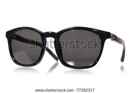 oldstyle black sunglasses isolated on white - stock photo