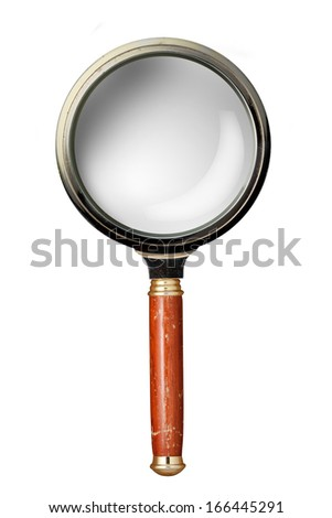 Oldstyle magnifying glass isolated on white