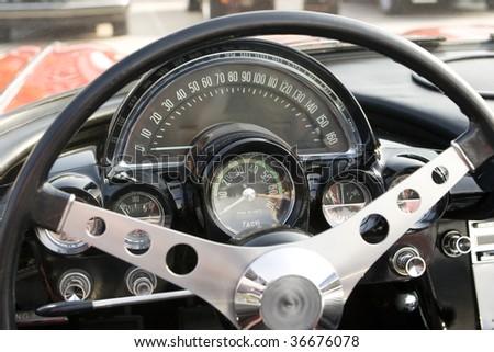 oldtimer  dashboard - stock photo