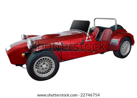 oldtimer racing car isolated - stock photo