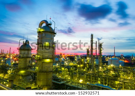 Olefins plant in the siluate sky ; Petrochemical - stock photo