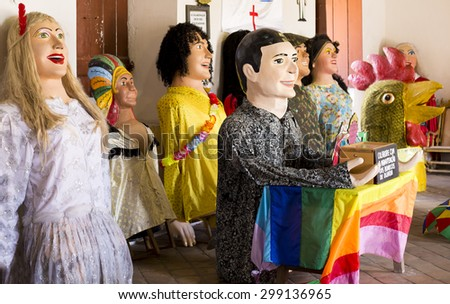 OLINDA, BRAZIL - MAY 2: Brazilian Carnival Festival Costumes made of paper, fabric, and wood used by locals in Olinda, PE, Brazil during their one-week carnival party photographed on May 2, 2015. - stock photo
