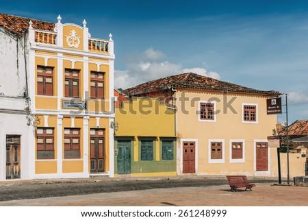 OLINDA, PERNAMBUCO, BRAZIL - MARCH 16: small square in the old town of Olinda, Pernambuco region, Brazil on March 16, 2015. - stock photo
